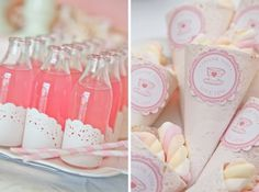 I love these glass bottles with the doily as decoration and Pink Lemonade with pink and white straw!