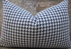 Designer Pillow Cover  12 x 18  Houndstooth Blue by 3BModLiving, $32.00