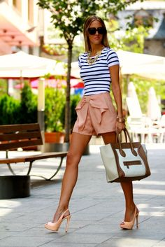 Nautical striped top, peach chiffon bow shorts, peach slingback pumps, tan, white & leather tote, and oversized sunglasses...love it!