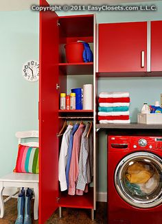 Tip of the Day: Add a hanging rod to your laundry room storage cabinet to hang laundered clothes fresh from the dryer and avoid wrinkles.