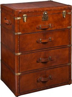 Bradburn Gallery Home brings us this leather Campaign Chest from Barkley Butera.