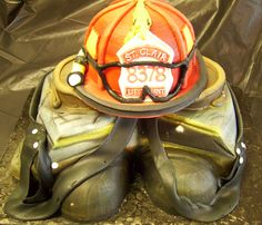 Firefighter Helmet & Gear Groom's Cake | Shared by LION