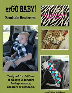 erGO BABY Bendable baby / toddler headrest carseat pillow and cover in Black and White Zebra
