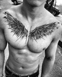 ▷ Cool and Inspirational Wing Tattoo Designs and I .- ▷ 1001 + coole und inspirierende Flügel Tattoo Designs und ihre Beudetungen tattoo wing, man with blackwork tattoo on the breast, black gray photo - Tattoos Masculinas, Polish Tattoos, Body Art Tattoos, Sleeve Tattoos, Cross Tattoos, Celtic Tattoos, Chest Tattoo Wings, Wing Tattoo Men, Wing Tattoo Designs