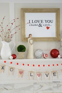 Holidays| Valentine's Day-I Love You a Bushel & a peck sign