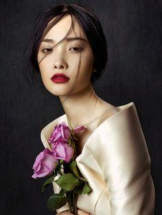 """Kwak Ji Young"" - Zhang Jingna (b. 1979), ""Flowers in December"" Series {figurative realism art beautiful female head asian woman face portrait #hyperreal painting}"