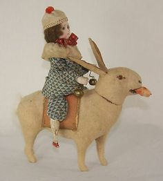 Antique German Easter Bisque Head Doll Riding Rabbit Candy Container c1910