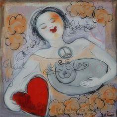 Jane Monica Tvedt - Empire of heart: Menneske- jeg er glad i deg! - akrylmaleri