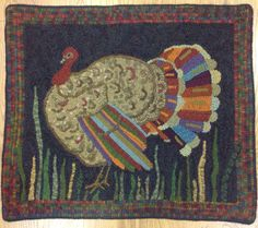 Turkey, Turkey -pattern by Warren Kimble. Teacher-Barb Carroll. Hooked by Jennie Adcock.