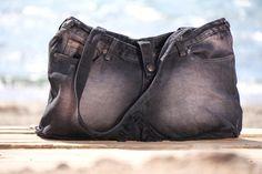 OFFSHORE BAGS  BEACHSIDE Black Denim Shoulder Bag Handmade & Hand Dyed LT Resortwear