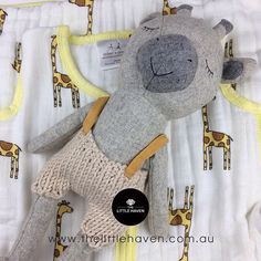 C U T E S T combo! Featuring cozy muslin sleeping bag and soft wool blend softie that has the cute factor! #albury #thelittlehaven #babygifts