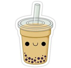 'Boba & Leaf Milk Tea Teabag' Sticker by aishiiart Drawing Cartoon Characters, Cartoon Drawings, Doodle Drawings, Tumblr Stickers, Cute Stickers, Tea Wallpaper, Tea Tattoo, Kawaii Doodles, Tea Art