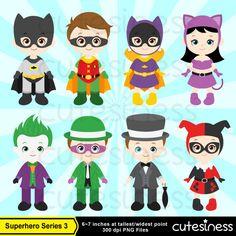 Superhero Digital Clipart Superhero Clipart por Cutesiness en Etsy