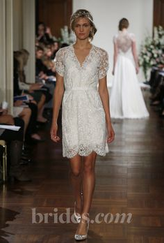 """Brides.com: Jenny Packham - 2013. """"Buttercup"""" knee-length lace sheath wedding dress with short sleeves with v-neckline and buttons, Jenny Packham See more Jenny Packham wedding dresses in our gallery."""