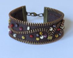 Items similar to Handmade zigzag folded black Zipper cuff on Etsy