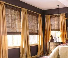 M&B Woven Wood Shades & Bamboo Shades. Save on Woven Wood and Bamboo shades online with Blinds Discount. Living Room Blinds, Bedroom Blinds, House Blinds, Master Bedroom, Vertical Window Blinds, Blinds For Windows, Curtains With Blinds, Shutter Blinds, Fabric Blinds