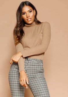 c4c1b7383a5 Missyempire - Isabel Brown Ribbed Roll Neck Jumper Roll Neck Jumpers,  Layers, Turtle Neck