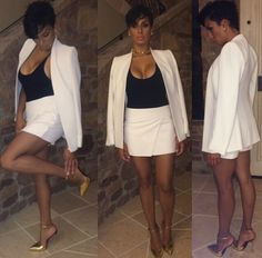 Laura Govan was business meeting ready in a chic white suit and Giuseppi Zanotti gold ankle strap sandals. Hot!