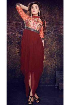 Ready-made Maroon georgette kurti for casual wear Western Kurtis, Diwali Sale, Casual Wear, High Waisted Skirt, Tunic, Indian, Formal, Stylish, Lady