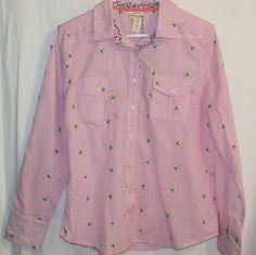 NWT Matilda Jane Sz Large Pink Checked Button Front Shirt Embroidery 100% Cotton #MatildaJane #DressyEveryday