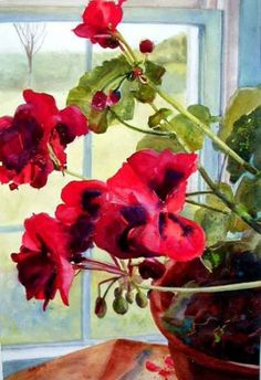 Red Geranium, painting by artist Kay Smith
