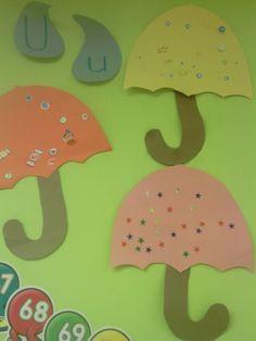 Letter u craft umbrellas