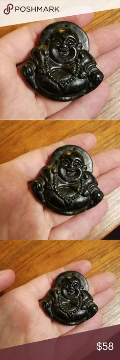 Vintage Chinese Black Jade Nephrite Carved Buddha Gorgeous Chinese Pendant handcarved from Black Jade Nephrite 45mm x 45mm (is actually green when held up to light as seen in last photo) Beautiful Vintage Jewelry