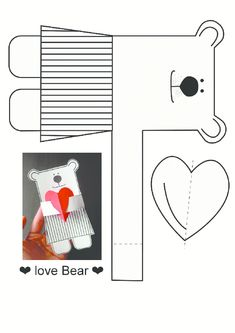 Bear pattern activities worksheet, patterns activity activities samples pages print paper, remove, d Preschool Crafts, Diy Crafts For Kids, Fun Crafts, Art For Kids, Paper Crafts, Valentine Day Crafts, Holiday Crafts, Valentines, Love Bear