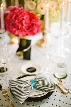 Black & White. Polka Dot Linens. Small Striped Napkins. Feels Elegant & Modern & Whimsical. See more on SMP:  http://www.stylemepretty.com/2013/01/22/san-diego-rooftop-wedding-from-birds-of-a-feather-photography/Birds of a Feather Photography