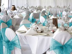 Beautiful turquoise organza chair sashes :  wedding reception