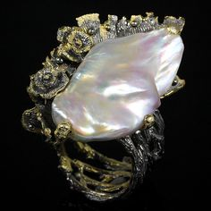 Unique Handmade Natural Baroque Pearl 925 Sterling Silver Ring Size 10.25/R24301 #APBJewerlry #Ring