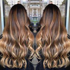 Bronde Balayage For Black Hair Balayage Ombré, Hair Color Balayage, Ombre Hair, Honey Balayage, Balayage Highlights, Tiger Eye Hair Color, Tiger Hair, Eye Color, Brown Hair Colors