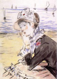 Young Woman by the Sea - 1880 - Édouard Manet Edouard Manet Paintings, Monet Paintings, Georges Seurat, Pierre Auguste Renoir, Gouache, Watercolor Paintings For Beginners, Francisco Goya, Portraits, Paris