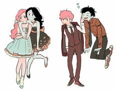 Gumlee and bubbline Marshall lee and Prince gumball, Marceline and Princess bubblegum modern fashion Adventure Time Anime, Adventure Time Princesses, Adventure Time Stuff, Adventure Time Characters, Adventure Time Marceline, Blood Lad, Bubbline, Korrasami, Marshall Lee X Prince Gumball