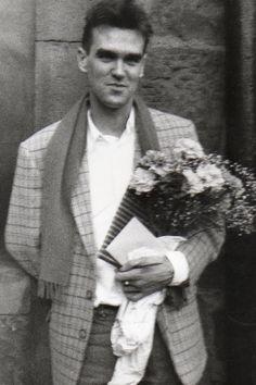 Morrissey arriving at Johnny Marr's wedding on June 20, 1985.