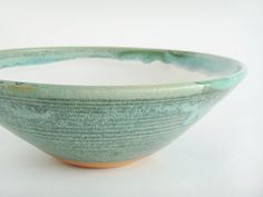 Ceramic pottery serving bowl green and white by juliapaulpottery