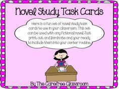Novel Study Task Cards - FREEBIE! from The Carefree Classroom on TeachersNotebook.com -  (9 pages)  - Here is a fun set of novel study task cards to use in your classroom. This set is geared for grades 3rd - 5th, but could be used in 2nd. You can use this set with any fictional novel. Just print, cut,