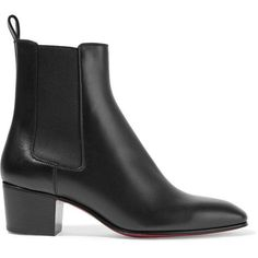 Christian Louboutin Gadessita 55 leather Chelsea boots (€800) ❤ liked on Polyvore featuring shoes, boots, sapatos, leather slip on shoes, real leather boots, beatle boots, pull on boots and christian louboutin boots
