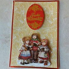 Weihnachtskarte mit singenden Kindern
