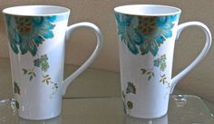 222 FIFTH ELIZA SPRING TURQUOISE SET OF 2 LATTE COFFEE CUP NEW FLORAL PORCELAINE #222FIFTH