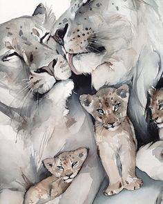 Aucune description de photo disponible. Watercolor Paintings Of Animals, Lion Painting, Family Painting, Watercolor Artwork, Animal Paintings, Lion King Drawings, Lion King Art, Lion Art, Art Drawings