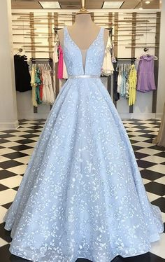 Women in gown prom dresses 2019 Prom Dress Charming Evening Dress Prom Dresses Blue Lace Prom Dress, Pretty Prom Dresses, Prom Dresses Blue, Dress Prom, Lace Prom Gown, Pageant Dresses, Floral Prom Dress Long, Light Blue Quinceanera Dresses, Grad Dresses Long