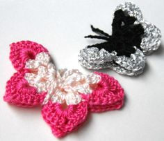 Mom made tons of crochet butterfly magnets one year. Hers came out a bit prettier, but this is close enough that if you used nice colors, you could get something close to it