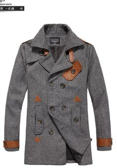 grey coat w/ brown leather