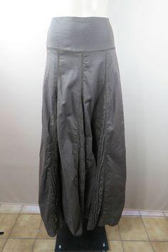 $19.99 - $25.99 - NWT Size L 14 ISHKA Ladies Brown Maxi Skirt Crochet Lace Insert Full Long Boho Hippie Gypsy Style