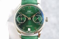 IWC Portuguese Real PR RG YLF 1:1 Best Edition Green Dial on Green Leather Strap A52010 V3