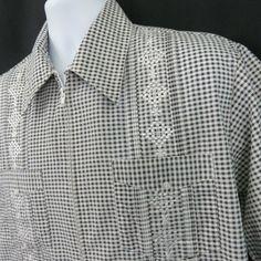 35dd15e7be Genuine Haband Guayabera Shirt Mens L Check 4 Pocket Pleated Embroidered  Zipper  Haband  Guayabera