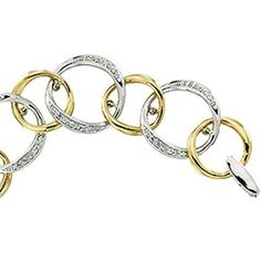 Genuine IceCarats Designer Jewelry Gift White/Yellow Gold Two Tone Diamond Bracelet. Two Tone Diamond Bracelet In White/Yellow Gold Link Bracelets, Jewelry Bracelets, Bangles, Jewelry Gifts, Unique Jewelry, Jewelry Design, Designer Jewelry, Jewelry Collection, Heart Ring