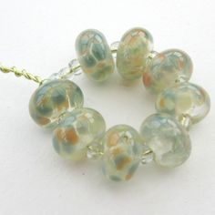 Handmade glass beads - speckle glass beads - peach, cream & green lampwork glass - artisan glass craft supplies - jewelry components by BlueBoxStudio on Etsy