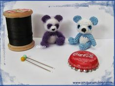 miniature Blue Panda Teddy Bears made with crochet thread by Amigurumi To Go